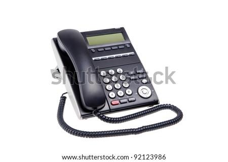 black phone closeup isolated on white background - stock photo