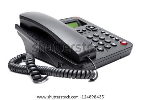 black phone isolated on white background closeup - stock photo