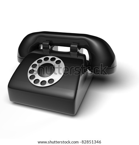 black phone on white background - 3D render bitmap - stock photo