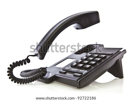 Black phone with floating handset - stock photo