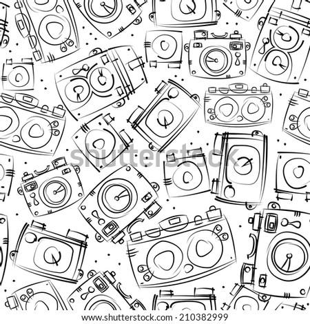 black photo cameras seamless pattern - stock photo