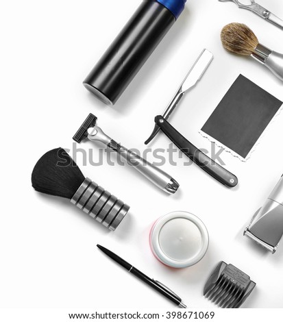 Black photo, shaving set with equipment, tools and cosmetic, isolated on white