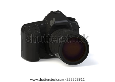 black photocamera with zoom lens isolated on white background, 3D render - stock photo
