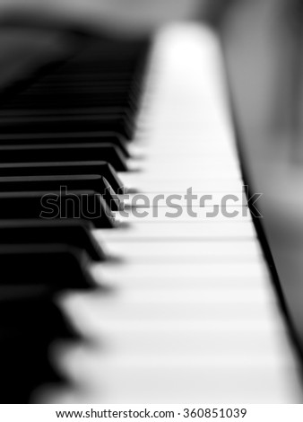 Black piano close up blur background and foreground. - stock photo