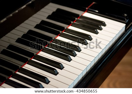 Black piano close up, Piano and Piano keyboard, side view of piano key instrument musical tool. Select focus with shadow and worm tone image - stock photo