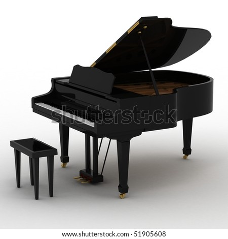 Black piano isolated on white