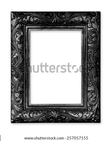 black  picture frame. Isolated on white background - stock photo