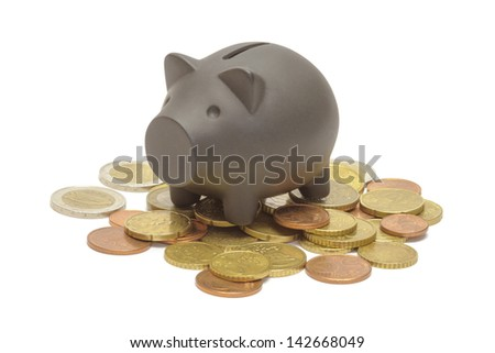 Black piggy bank  isolated on white - stock photo