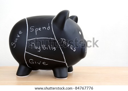 Black Piggy Bank with pork chart spending plan drawn on with chalk - stock photo