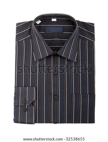 Black pinstriped dress shirt isolated over a white background - stock photo