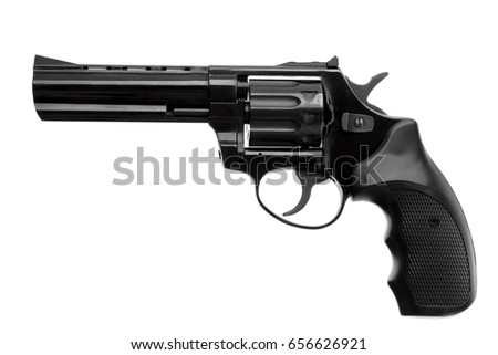 Black pistol revolver isolated on white background