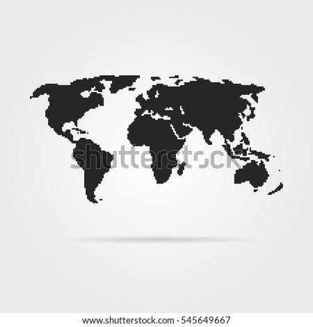 Black Pixel Art World Map Shadow Stock Illustration 545649667