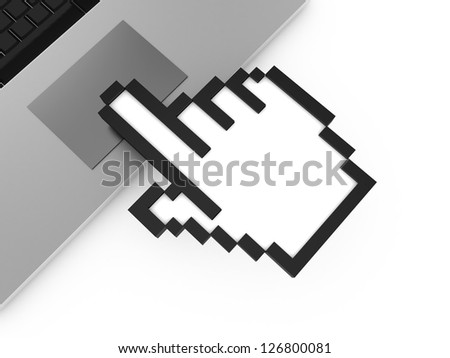 Black pixel hand cursor, pointer touching on laptop touch pad, isolated on white background.