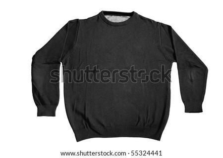 Black plain sweater isolated on white background - stock photo