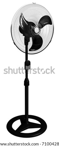 Black plastic and metal hi-tech fan 3D render, isolated against a white background