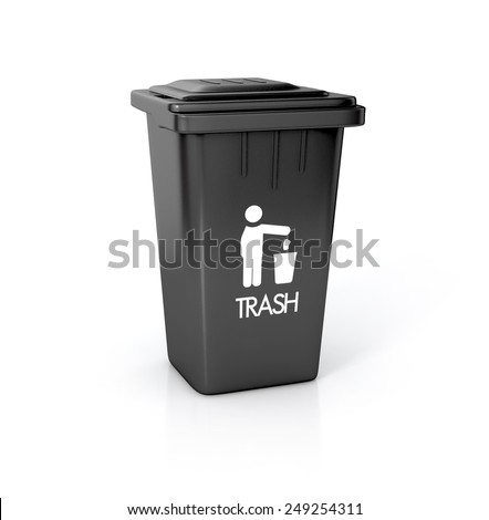 black plastic bin on white background with trash sign. 3d illustration isolated - stock photo