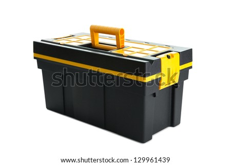 Black plastic box of tools isolated over white background - stock photo