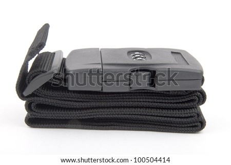 black plastic buckle on strap - isolated on white background