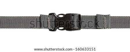 Black plastic buckle on strap isolated on white background - stock photo