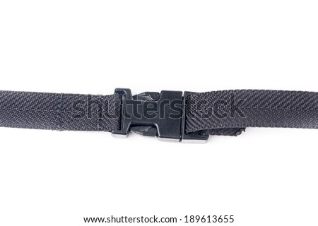 black plastic buckle on strap - isolated on white background - stock photo