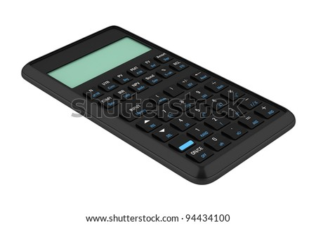 black plastic calculator isolated on white background