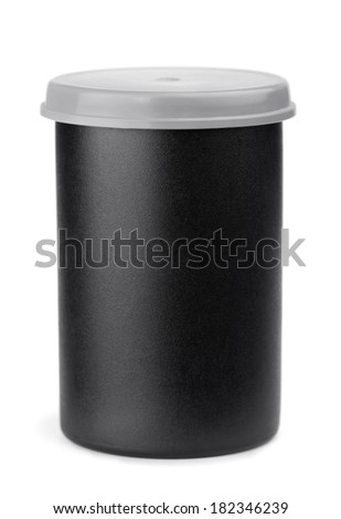 Black plastic film roll case isolated on white - stock photo