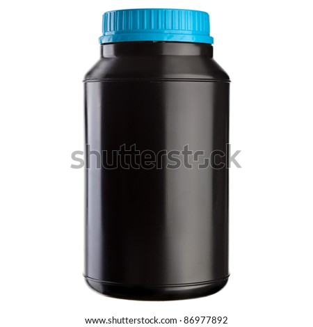 Black plastic jar with blue lid isolated on a white background. Place your own label on it. - stock photo
