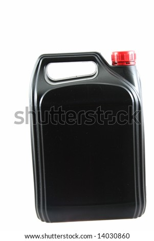 Black plastic jerrycan isolated on white background as sample of my isolated objects - stock photo