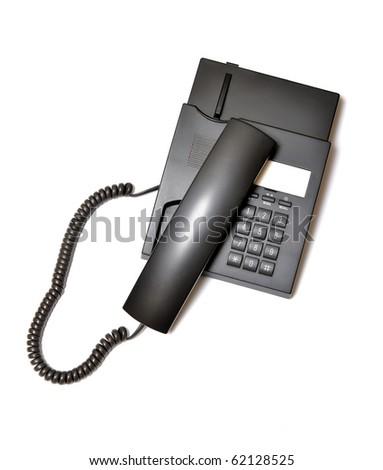 black plastic phone isolated on white background - stock photo
