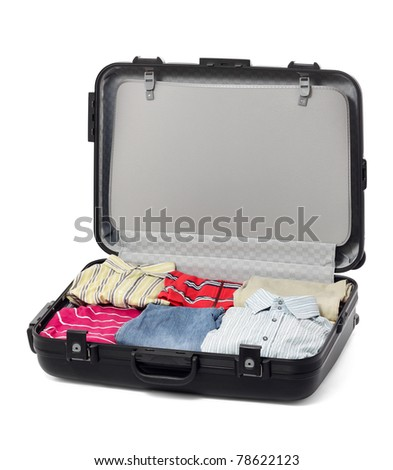 Black Plastic Suitcase with clothes