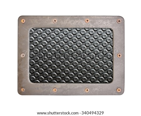 black plastic surface with rough background plate with frame and screws - stock photo