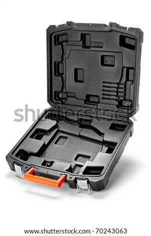Black plastic toolbox on white - stock photo