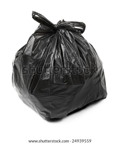 Black plastic trash bag on white - stock photo