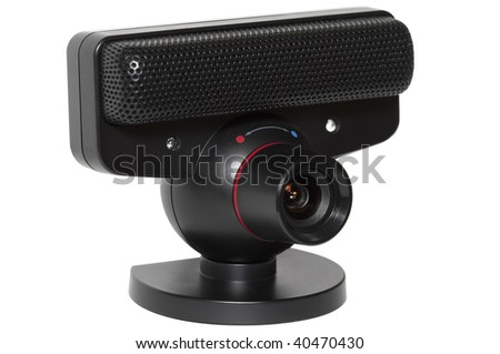 Black plastic web camera with microphone isolated over white background