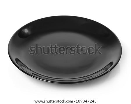 Black plate isolated on white background - stock photo