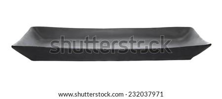 Black plate isolated on white background. - stock photo