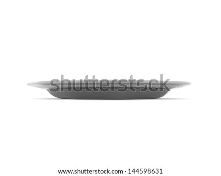 Black plate rendered isolated on white background - stock photo