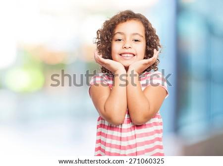 black pleased girl - stock photo