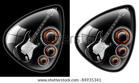 black plectrum with a guitar and woofer on a black and white background