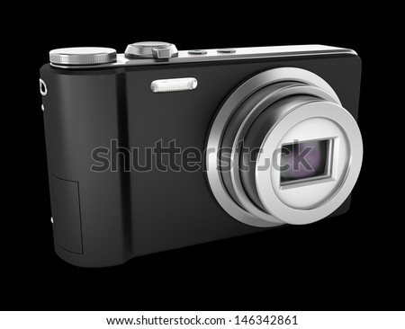 black point and shoot photo camera isolated on black background