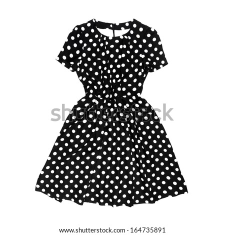 Black polka dot retro dress on white background - stock photo