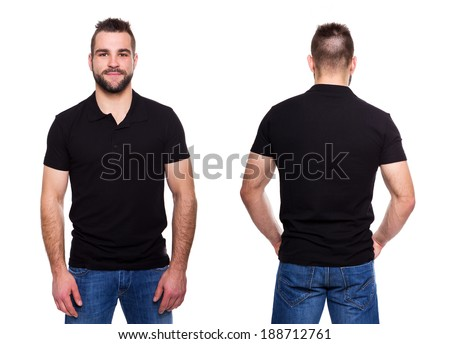 Black polo shirt with a collar on a young man on a white background  - stock photo