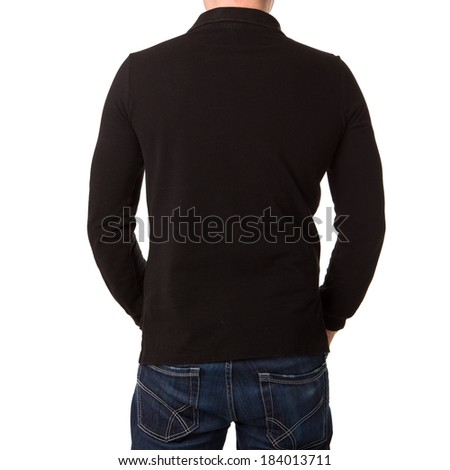 Black polo shirt with a long sleeve on a young man on a white background - stock photo