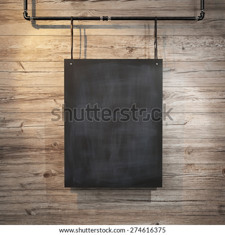 Black poster hanging on leather belt. 3d rendering - stock photo