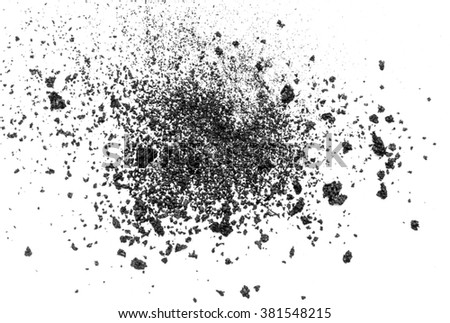 Black powder isolated on white background