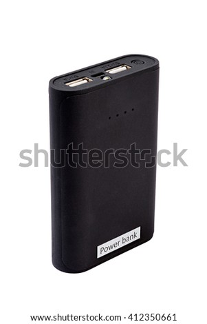 black power bank. Isolated on white background