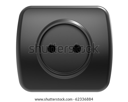 Black power outlet, isolated on a  white background - stock photo