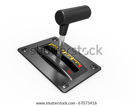 Black power switch of electronics device on a white background