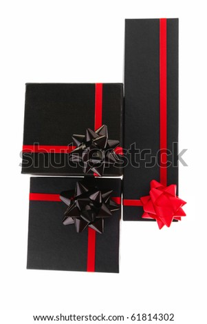 black present box with red type on white - stock photo