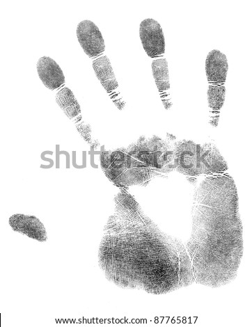 black print of a hand and fingers - stock photo